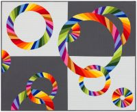 Rainbow Rings of AMB fabric on a 4 square light and dark gray background